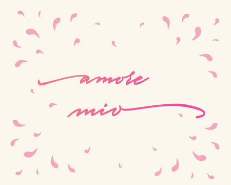Amore mio Happy Valentines Day Hand Lettering - Typographical Background Set ornaments, hearts, ribbon, angel and arrow