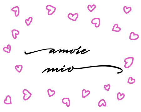 Amore mio Happy Valentines Day Hand Lettering - Typographical Background Set with ornaments, hearts, ribbon, angel and arrow Ilustracje wektorowe