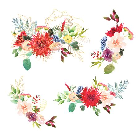 Collection Bright Wedding bridal romanric bouquet. Hand drawing watercolor red and purple and green flowers ornament
