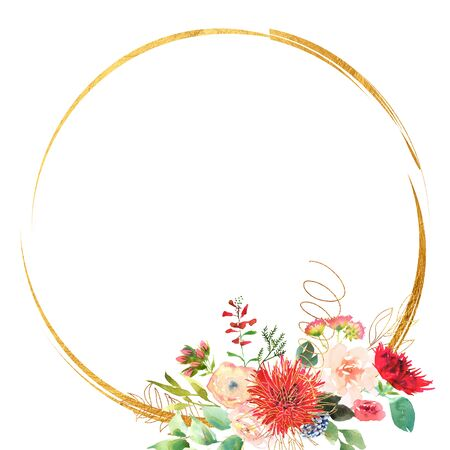 Bright Wedding bridal romanric frame wreath. Hand drawing watercolor red and purple and green flowers ornament Фото со стока