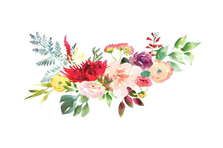 Bright Wedding bridal romanric bouquet. Hand drawing watercolor red and purple and green flowers ornament