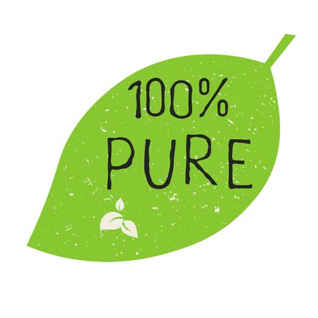 100 Pure label and high quality product badges. Bio healthy Eco food organic, bio and natural product icon. Emblems for cafe, packaging etc. Vector Vektoros illusztráció