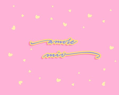 Amore mio Happy Valentines Day Hand Lettering - Typographical Background Set with ornaments, hearts, ribbon, angel and arrow