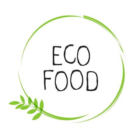 Eco food label and high quality product badges. Bio healthy organic, 100 bio and natural product icon. Emblems for cafe, packaging etc. Vector Иллюстрация