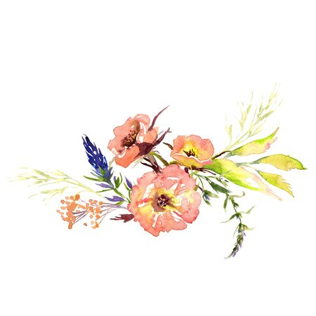 Wedding bridal romanric rustic soft flowers bouquet . Hand drawing watercolor pink and purple and orange flowers ornament