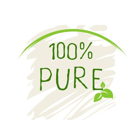 100 Pure label and high quality product badges. Bio healthy Eco food organic, bio and natural product icon. Emblems for cafe, packaging . Vector Foto de archivo - 131706405