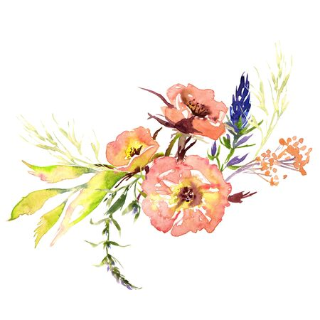 Hand drawing watercolor Wedding bridal flowers bouquet romanric rustic red pink and purple and orange flowers ornament Foto de archivo - 131799252