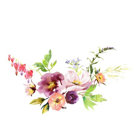 Hand drawing watercolor Wedding bridal bouquet romanric rusticred pink and purple and orange flowers ornament Foto de archivo - 131797487