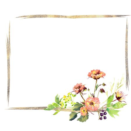 Wedding frame wreath bridal romanric rustic warm bouquet. Hand drawing watercolor pink and purple and orange flowers ornament Foto de archivo - 136244617