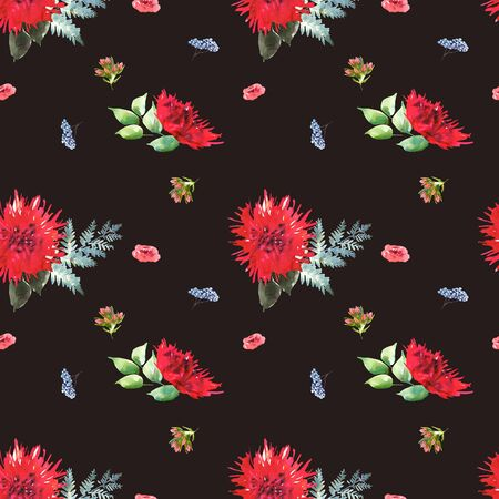 Bright Wedding bridal romanric bouquet seamless pattern. Hand drawing watercolor red and purple and green flowers ornament Foto de archivo - 136244621