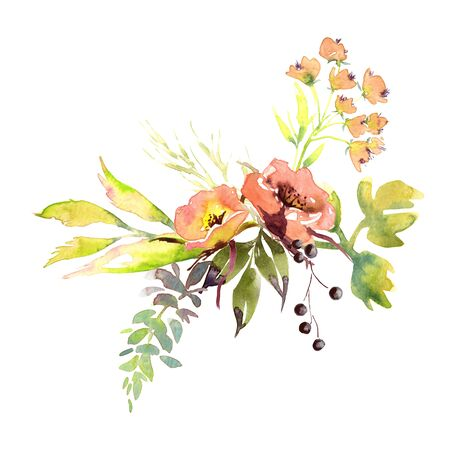 Hand drawing watercolor Wedding bridal flowers bouquet romanric rustic red pink and purple and orange flowers ornament Foto de archivo - 132972754