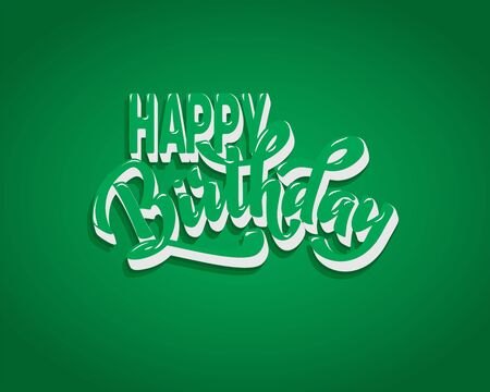 Happy birthday hand lettering text, brush ink calligraphy, vector type design, isolated on white background. Foto de archivo - 135026761