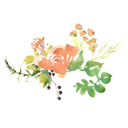 Wedding bridal romanric rustic soft flowers bouquet . Hand drawing watercolor pink and purple and orange flowers ornament Foto de archivo - 135036559