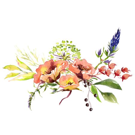 Wedding bridal romanric rustic soft flowers bouquet . Hand drawing watercolor pink and purple and orange flowers ornament Foto de archivo - 136247782