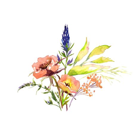 Wedding bridal romanric rustic soft flowers bouquet . Hand drawing watercolor pink and purple and orange flowers ornament Foto de archivo - 136247786