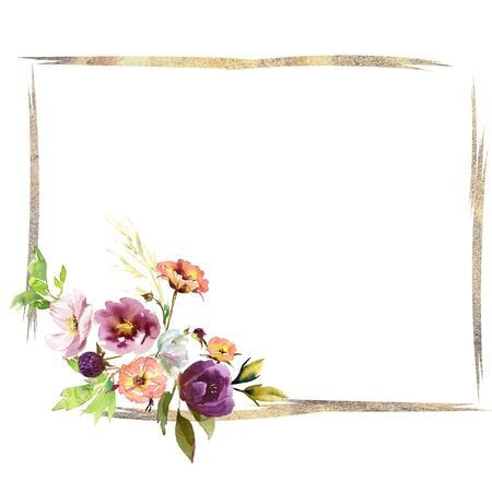 Wedding frame wreath bridal romanric rustic warm bouquet. Hand drawing watercolor pink and purple and orange flowers ornament Foto de archivo - 136247789