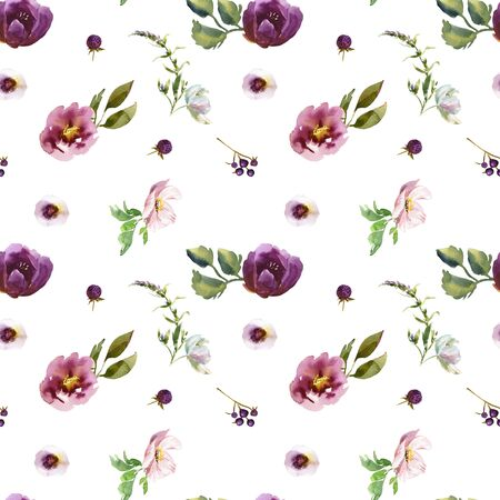 Wedding bridal romanric rustic warm seamless pattern. Hand drawing watercolor pink and purple and orange flowers ornament Foto de archivo - 136247790