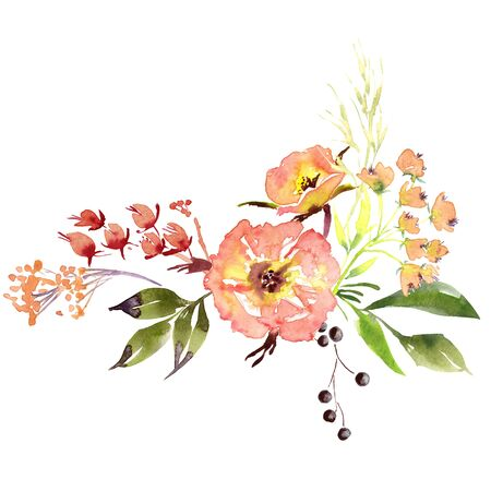 Hand drawing watercolor Wedding bridal flowers bouquet romanric rustic red pink and purple and orange flowers ornament Foto de archivo - 135117055