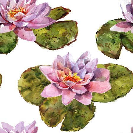 Water lily leaves and flowers bouquet. Hand drawing watercolor pink and purple and green flowers ornament Foto de archivo - 136247802