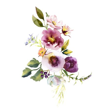 Wedding bridal romanric rustic warm bouquet. Hand drawing watercolor pink and purple and orange flowers ornament Foto de archivo - 136247798
