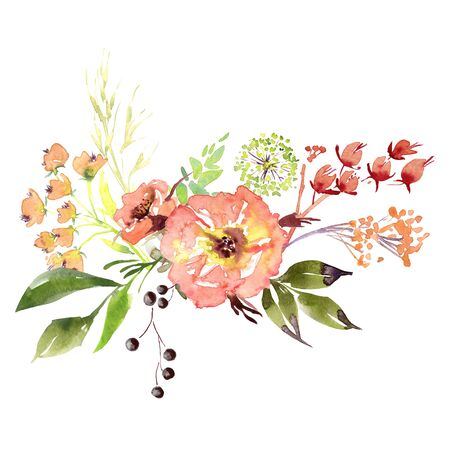 Wedding bridal romanric rustic soft flowers bouquet . Hand drawing watercolor pink and purple and orange flowers ornament Foto de archivo - 136247801