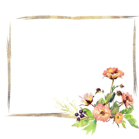 Wedding frame wreath bridal romanric rustic warm bouquet. Hand drawing watercolor pink and purple and orange flowers ornament Foto de archivo - 136247803