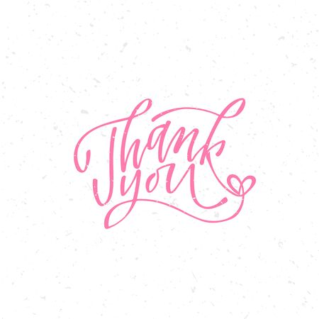 Thank you - hand lettering inscription to holiday design, black and white ink calligraphy Foto de archivo - 136324433