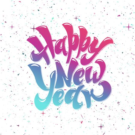 Happy New 2019 Year. Holiday Vector lettering Illustration With Lettering Composition and Burst Vintage Festive Label Foto de archivo - 136318993