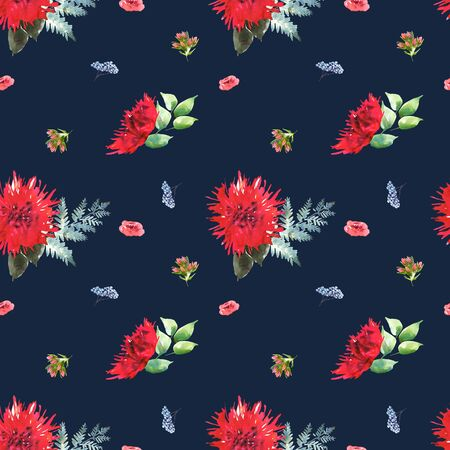 Bright Wedding bridal romanric bouquet seamless pattern. Hand drawing watercolor red and purple and green flowers ornament 免版税图像