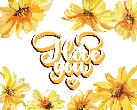 Love You, hand written lettering. Romantic calligraphy card inscription Valentine day Foto de archivo - 136319005