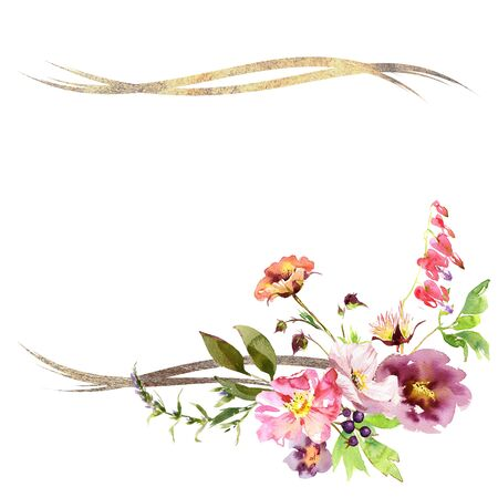Hand drawing watercolor Wedding frame wreath bridal bouquet romanric rusticred pink and purple and orange flowers ornament Foto de archivo - 135313402