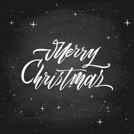 Merry christmas text vector on white background. Lettering for invitation, wedding and greeting card, prints and posters. Hand drawn inscription, love calligraphic design Foto de archivo - 135439235