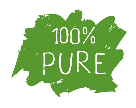 100 Pure label and high quality product badges. Bio healthy Eco food organic, bio and natural product icon. Emblems for cafe, packaging . Vector Foto de archivo - 136319007