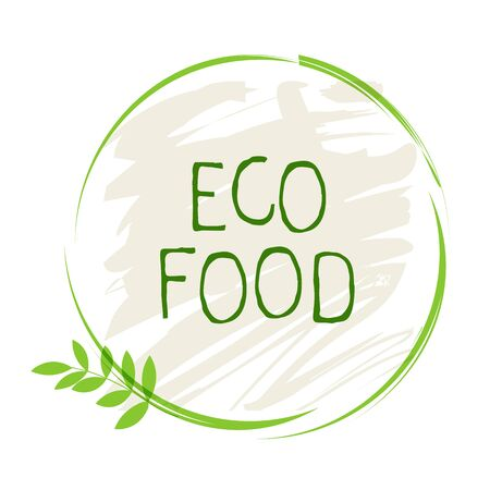 Eco food label and high quality product badges. Bio healthy organic, 100 bio and natural product icon. Emblems for cafe, packaging etc. Vector Foto de archivo - 136319012