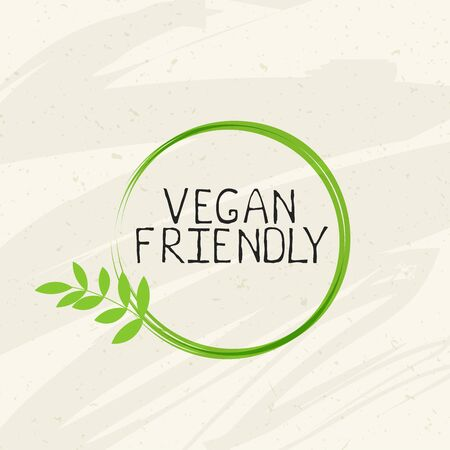 Vegan friendly label and high quality product badges. Bio Home made food Organic product Pure healthy Eco food organic, bio and natural product icon. Emblems for cafe, packaging etc. Vector Foto de archivo - 136319016