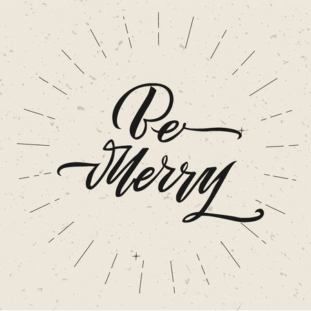 Be Merry Christmas text design. Vector logo, typography. Usable as banner, greeting card, gift package etc. Foto de archivo - 136319017
