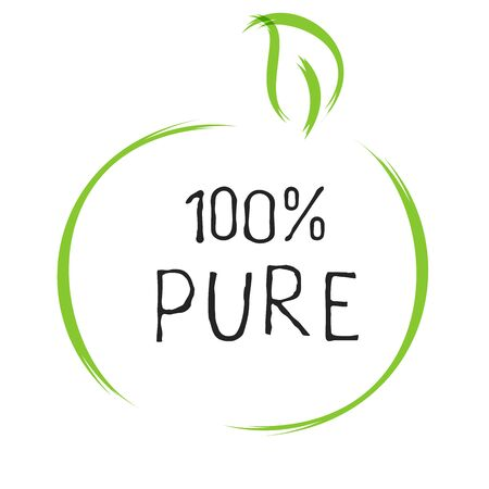 100 Pure label and high quality product badges. Bio healthy Eco food organic, bio and natural product icon. Emblems for cafe, packaging . Vector Foto de archivo - 136244892