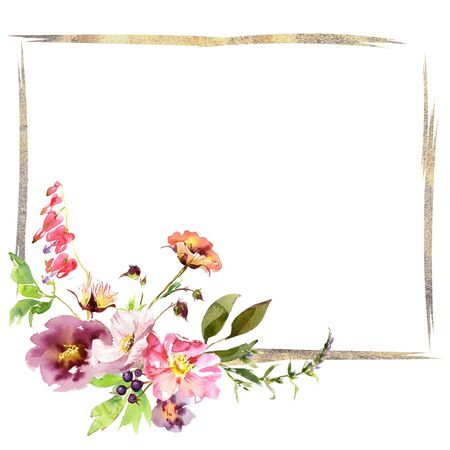 Wedding frame wreath bridal romanric rustic warm bouquet. Hand drawing watercolor pink and purple and orange flowers ornament