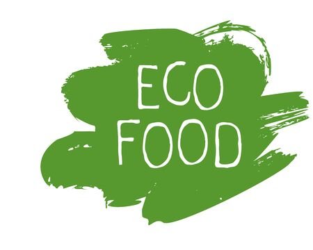 Eco food label and high quality product badges.