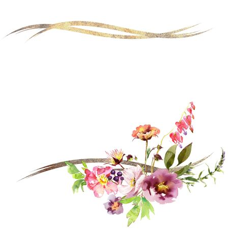 Hand drawing watercolor Wedding frame wreath bridal bouquet romanric rusticred pink and purple and orange flowers ornament 免版税图像
