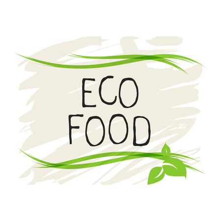 Eco food label and high quality product badges. Bio healthy organic, 100 bio and natural product icon. Emblems for cafe, packaging etc. Vector 矢量图像