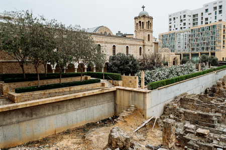 Ruins of the Roman Baths of Berytus, Beirut, Lebanon Reklamní fotografie