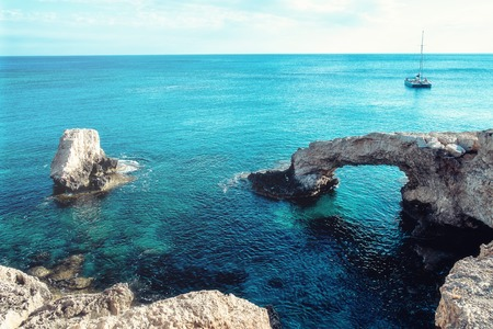 The bridge of love or love bridge is located in one of the most beautiful tourist attractions in Ayia Napa, Cyprus. Stock Photo