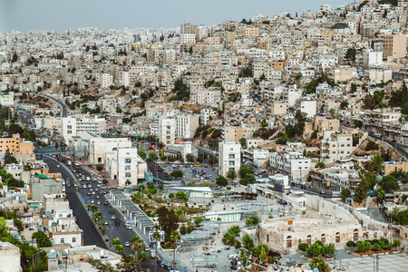 View of houses on hills in the center of Amman, the capital of Jordan 版權商用圖片