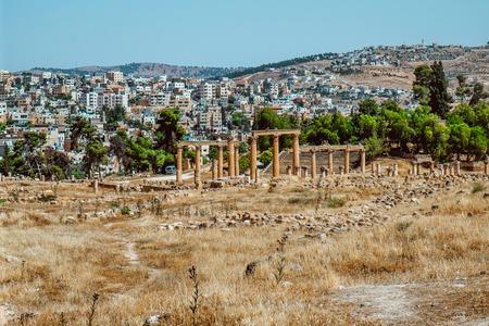 Ancient Jerash ruins, the Roman ancient city of Geraza, Jordan Standard-Bild - 119276925