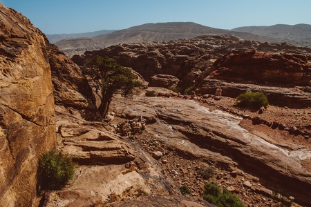 Hilly landscape on the antique site of Petra - Jordan 版權商用圖片