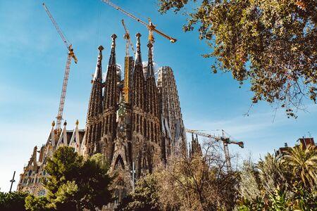 BARCELONA - Feb 2019: The Nativity Facade of the Sagrada Familia, the most iconic landmark designed by Antoni Gaudi in Barcelona, Catalonia, Spain