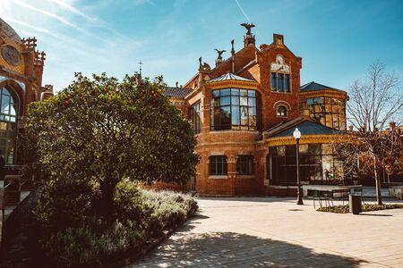 Hospital de la Santa Creu i Sant Pau - modernist building by famous architect Lluis Domenech i Montaner. Architecture of Barcelona inscribed on UNESCO World Heritage List. Feb 2019