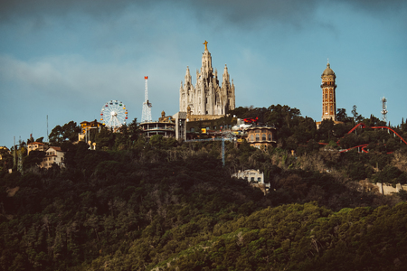 Tibidabo Mount as viewed from Park Guell at Barcelona, Spain Stock Photo