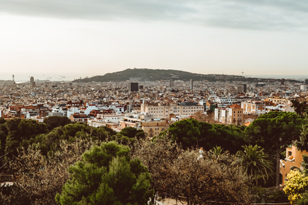 View of the city from Park Guell in Barcelona. Spain.